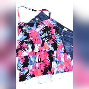 NWT Island Escape Tiered Bandini Tankini Swim Top